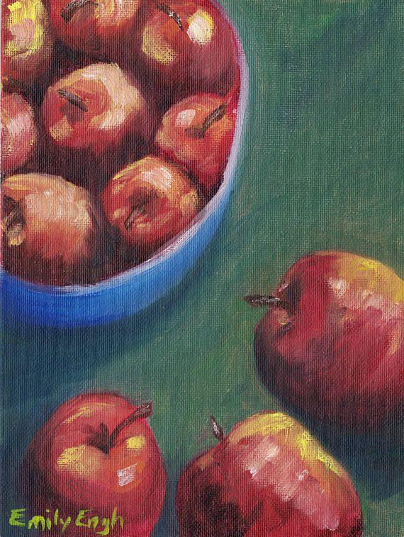 Fruit Bowl Painting Bowl Painting Fruit Oil Painting Art Apple