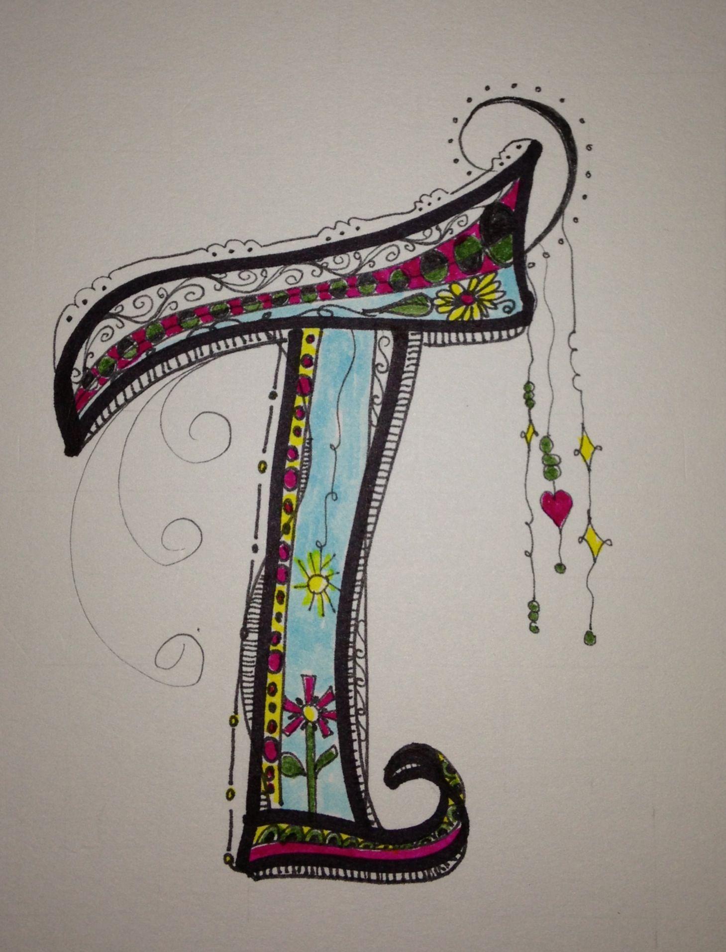 My Monogram T Zen Tangle Doodle Art