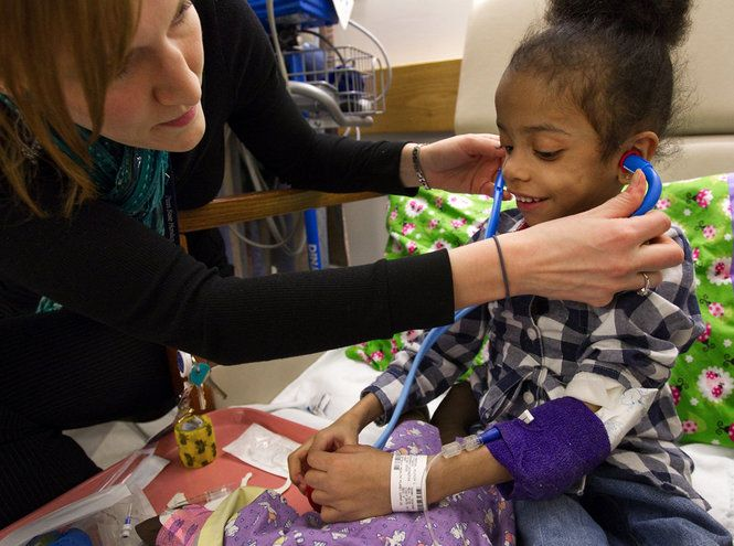 Medical play: a way to discover patients' misconceptions while also allowing them to act out their fears and/or curiosity on their doll.  This allows for anxiety to be diminished and trust to form between the Child Life Specialist and patient in a safe environment. (photo via pennlive.com)
