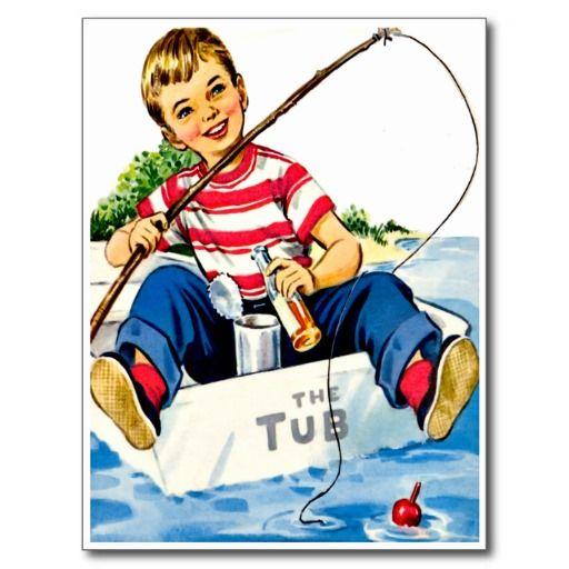 Little Boy Fishing Retro Happy Birthday Card – Birthday Cards for Little Boys