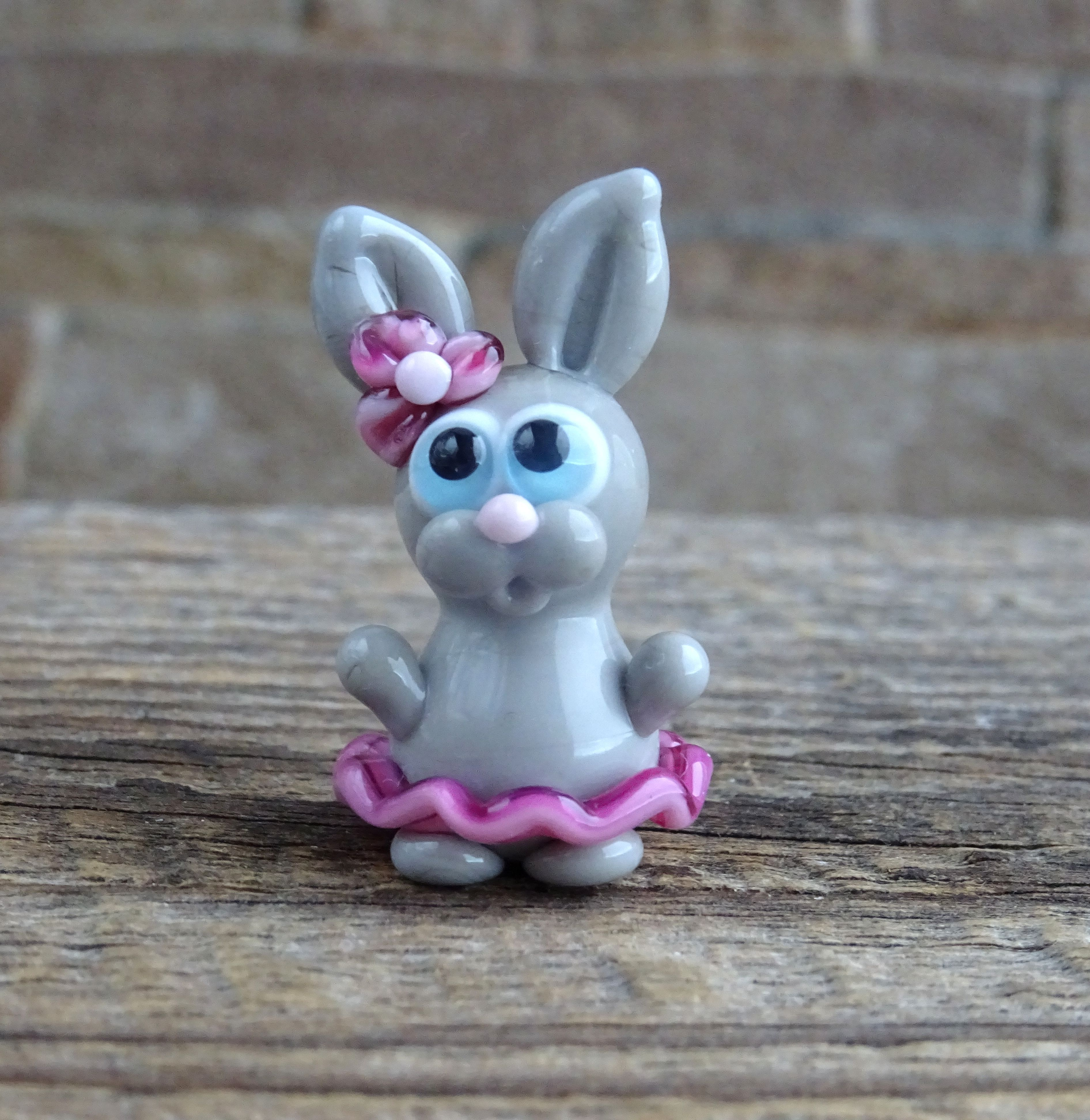 Miniature Dollhouse FAIRY GARDEN Accessories ~ Mini EASTER Gray Bunny Rabbit