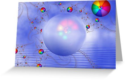 Rainbow Sphere on Blue Lake as a greeting card. Great price at $2.70 each.