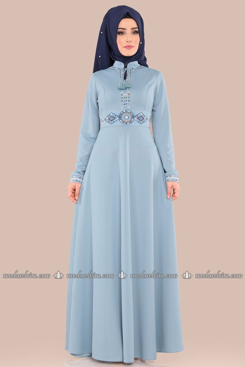 Etamin Nakisli Elbise 534 L263 S Bebe Mavisi Tenue Mode Coudre