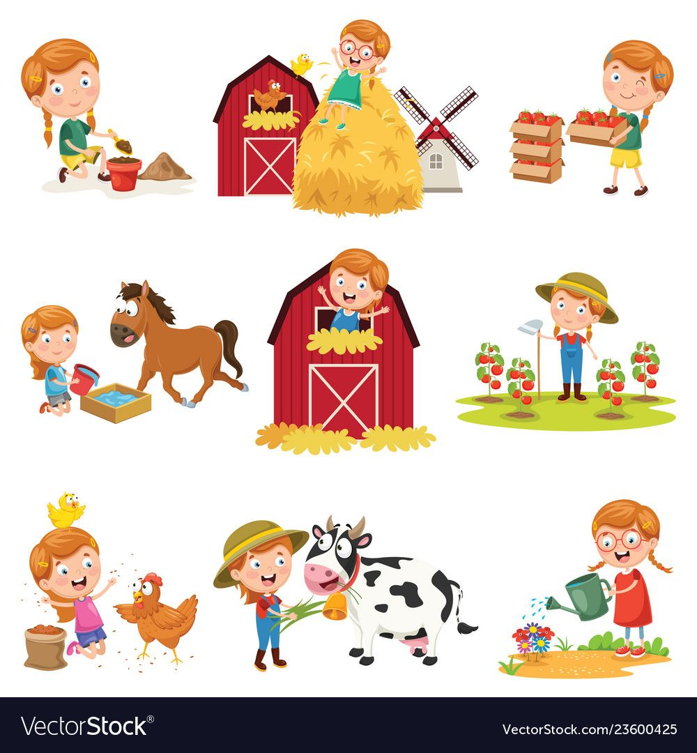 Of Little Girl At Farm Royalty Free Vector Image Farm Vector Drawing For Kids Vector Free