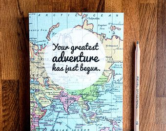 New adventure graduation gift travel journal diy pinterest a beautiful journal covered in a vintage map print with a message to inspire your adventures it makes a lovely graduation gift as your grad start gumiabroncs Gallery