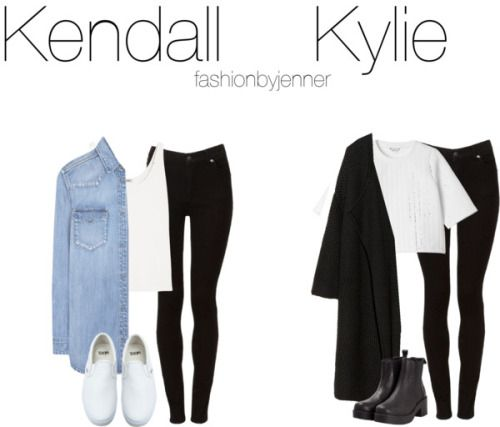 School outfits ft black pants by fashionbyjenner featuring Karl Lagerfeld  Calvin Klein Jeans denim shirt, / Totême white top, / Monki white shirt /  Karl