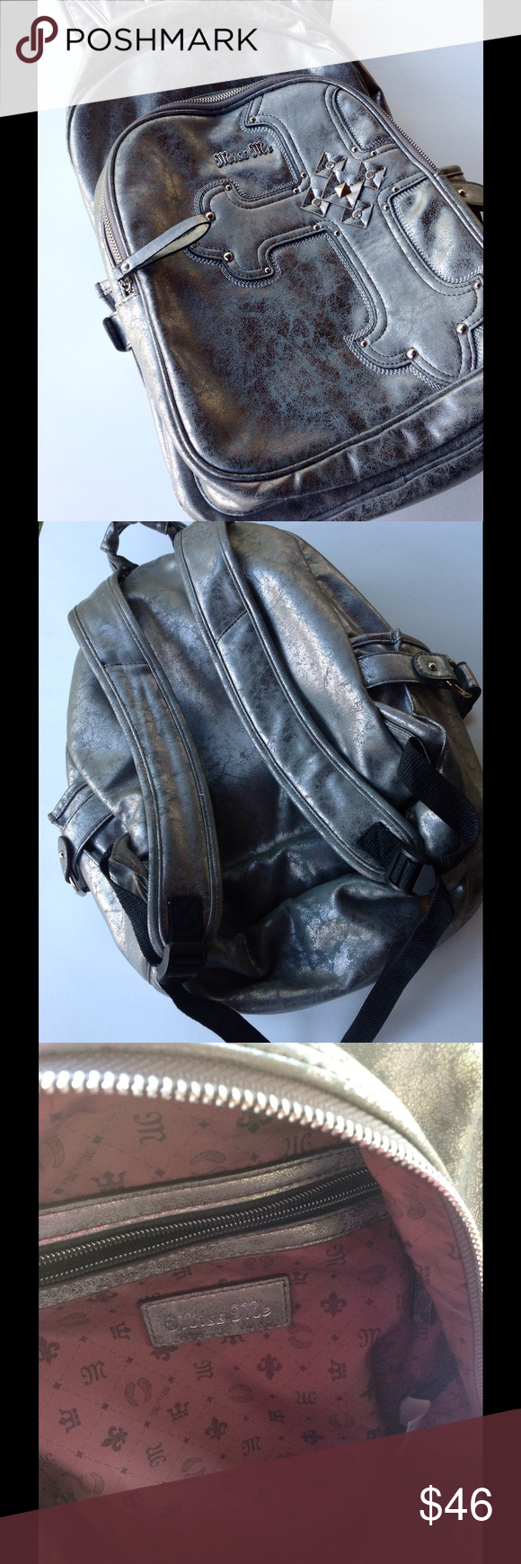 Miss Me Silver Backpack   Book Bag Gorgeous metallic like bag. Excellent  condition! Miss 3f09d11537