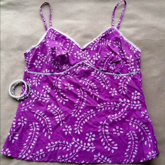 La Redoute 100% cotton summer top One of my favorite companies which stopped selling to the U.S. for some reason. Beautiful color with delicate lace and tiny pearl beading around chest. Lingerie straps - so French! - adjust for perfect fit. Finished seams and side zip. AMAZING color. La Redoute Tops Camisoles