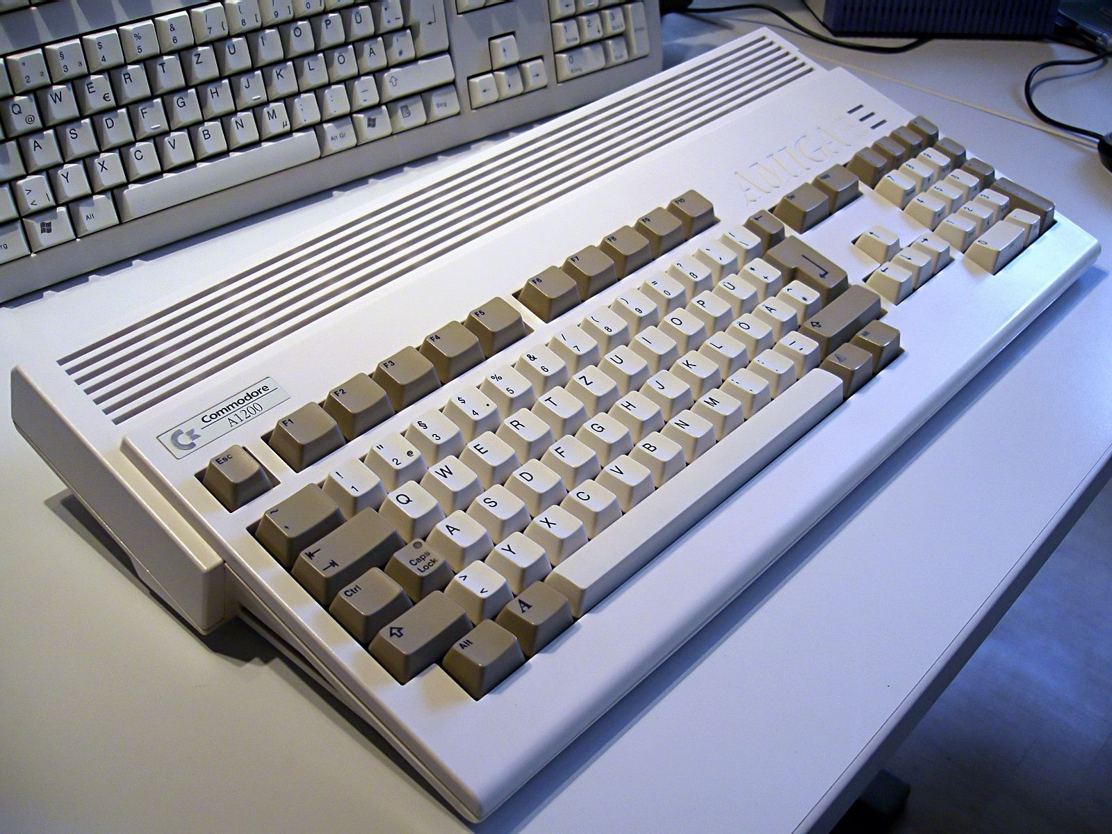 The Amiga 1200 (Advanced Graphics Architecture), released in 1992. Together with the A4000 this was one of the last Amiga models that was released before Commodore's bankruptcy.