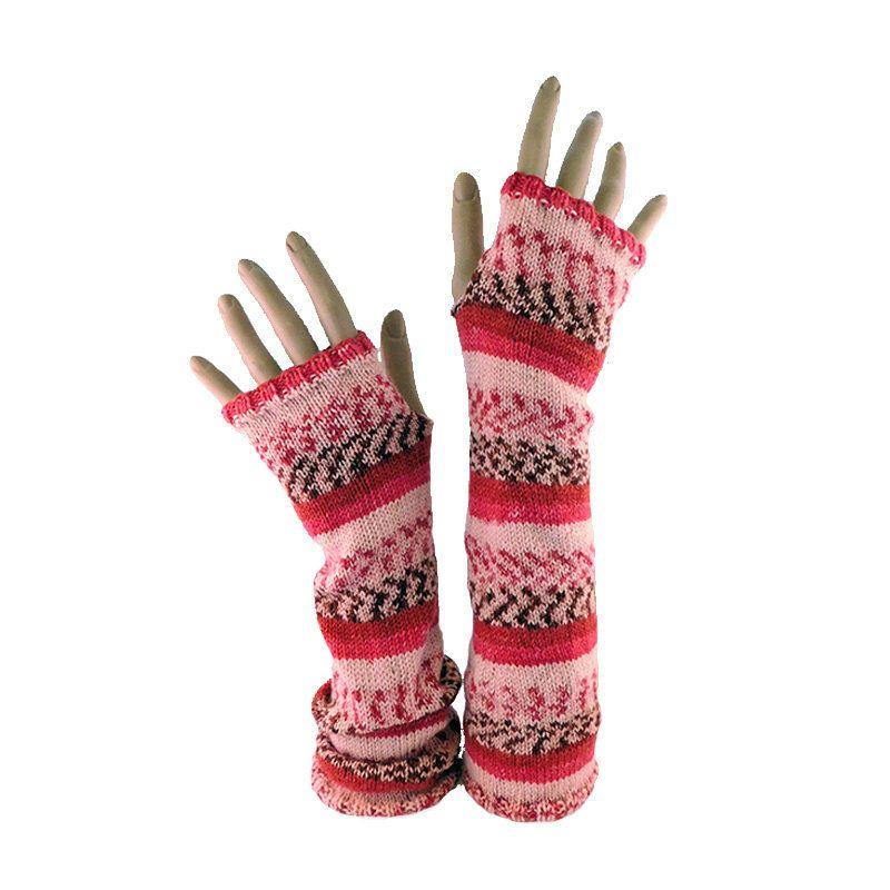 Fingerless Gloves // Long Mitts // Red Burgundy Peach Salmon Fair ...