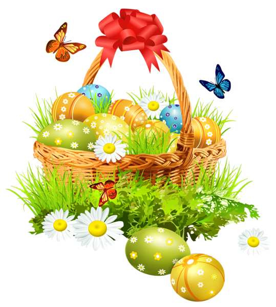 Easter Basket With Eggsand Butterflies Png Clipart Picture Easter Art Easter Pictures Easter Graphics