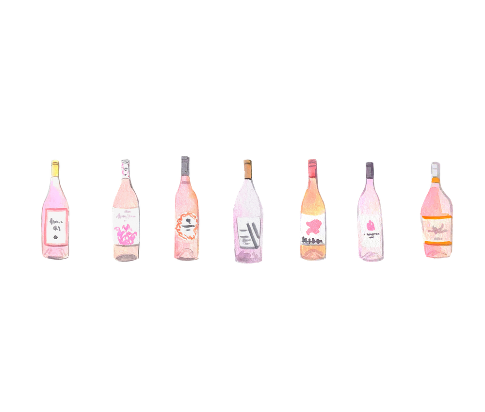 Watercolor Rose Wine Bottles Art Print By Stephanieanne0 X Small Bottle Printed