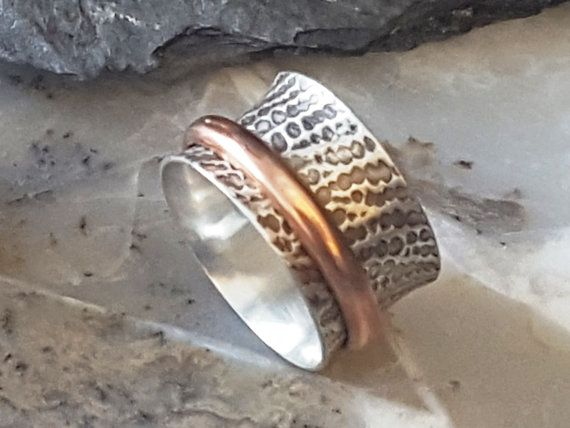 Sterling Silver and Copper Spinner Ring Sz von mulberrystdesigns