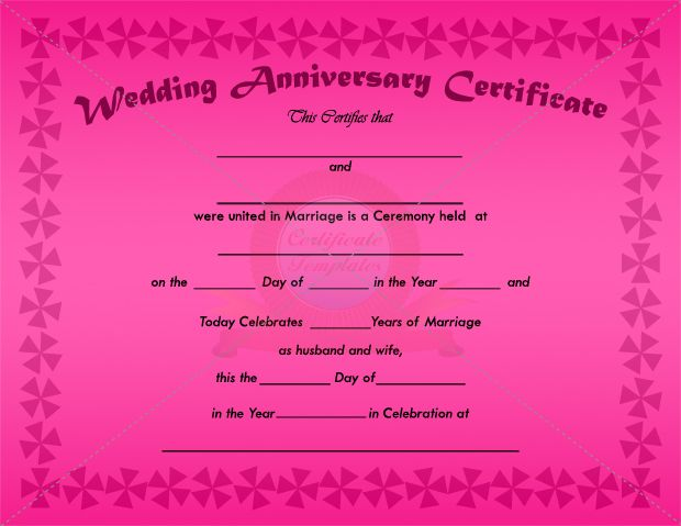 Wedding Anniversary Certificate Template ANNIVERSARY CERTIFICATE - sample marriage certificate