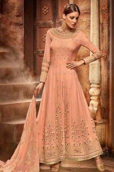 d58652d67f Georgette Designer Peach Color Indian Designer Anarkali Salwar Suit ...