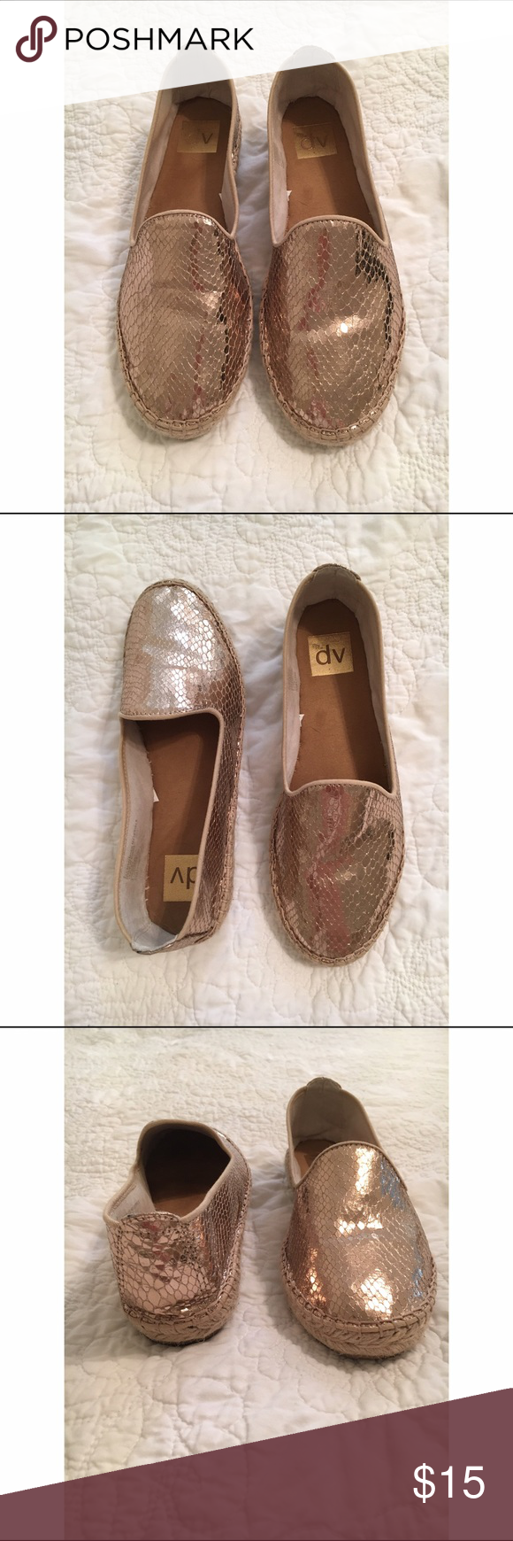 Gold Snakeskin Espadrille Flats These metallic gold snakeskin espadrille slip on flats are made by dv. I have worn them maybe twice. They are very comfortable!! They are size 8. I bought them at Target a few months ago for $24.99. I am selling them for $15. DV by Dolce Vita Shoes Espadrilles