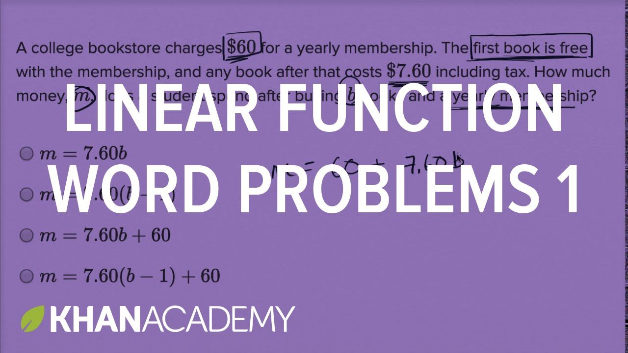 Linear function word problems — Basic example | Math | New SAT | Khan Ac...