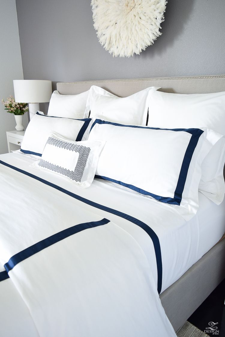 Review Of Boll Branch Sheets White Hotel Bedding With Navy Band Navy Cable Knit Throw Softest Sheets The Best Beddi White And Navy Bedding Luxury Bedding Bed