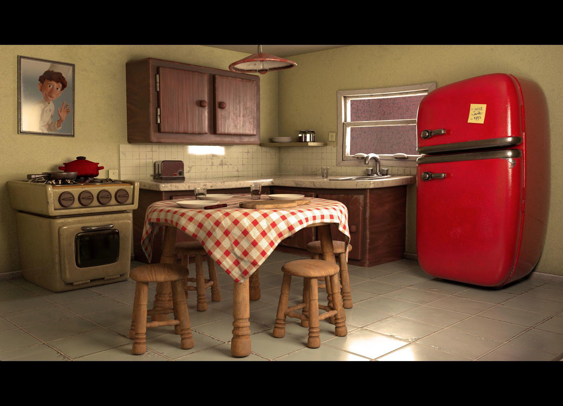 Cartoon Kitchen Layout 3D model in 2020 Kitchen layout