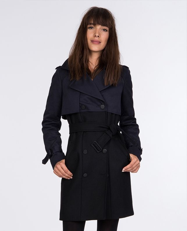Trench Bi Matiere Comptoir Des Cotonniers Bon Shopping Com Women Outerwear Jacket Coat Outerwear Jackets