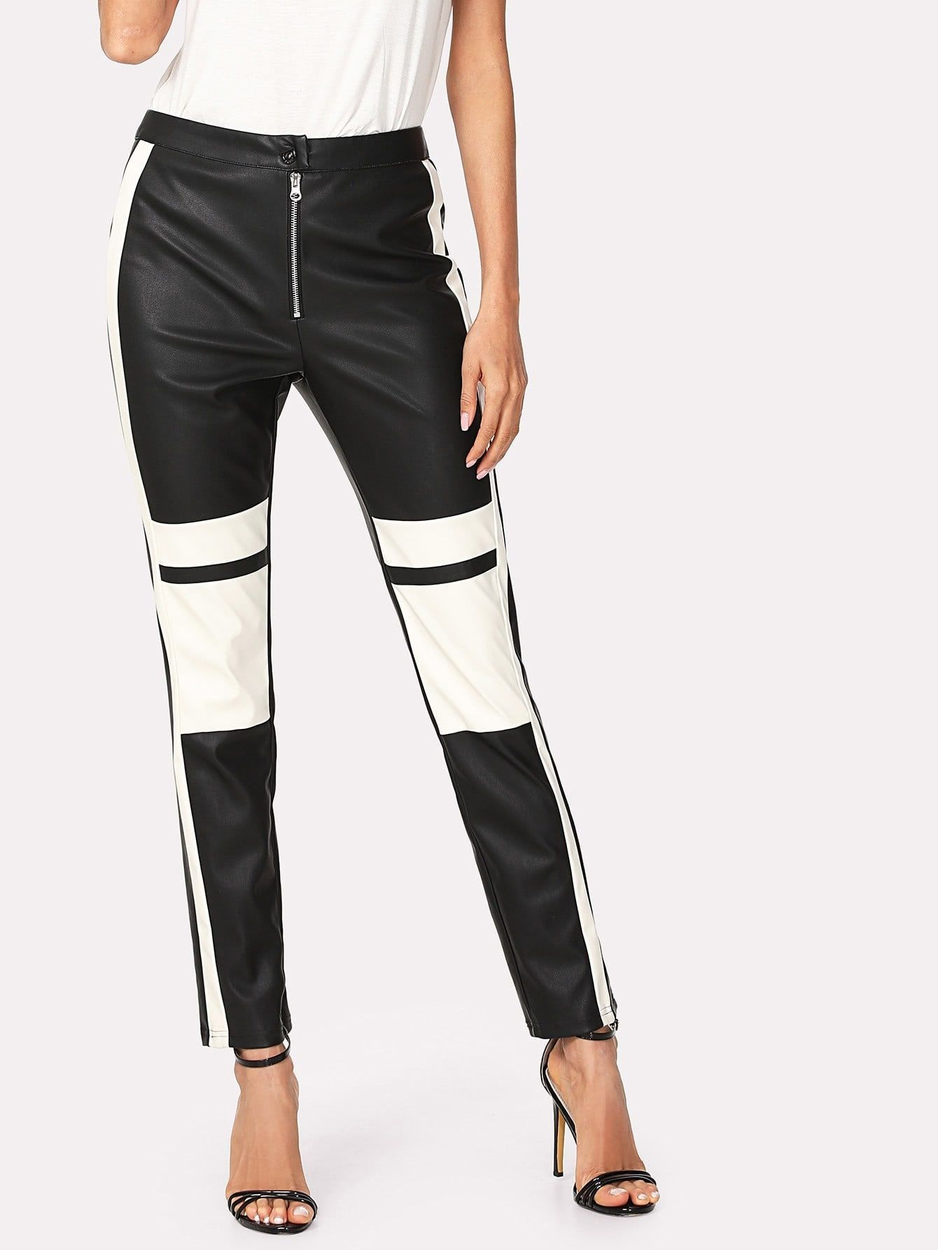 866b66e700 Two Tone Faux Leather Pants in 2019 | 1 | White leather pants, Faux ...