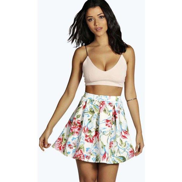 White Floral Skater Skirt Boohoo Jane Floral Print Box Pleat Skater... ❤ liked on Polyvore featuring skirts, floral skirt, white skirt, floral circle skirt, floral print skater skirt and box pleat skirt