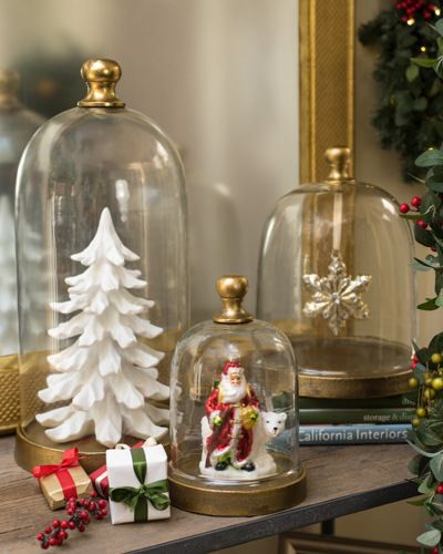 96dc95d7c15ca4 white artificial Christmas tree and Santa Claus figure under glass.  Decorative Glass Cloche | Balsam Hill