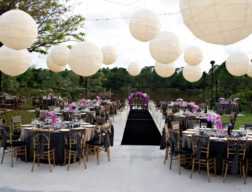 Reception Tables And Ceremony Set Up On The Morikami Back Terraces