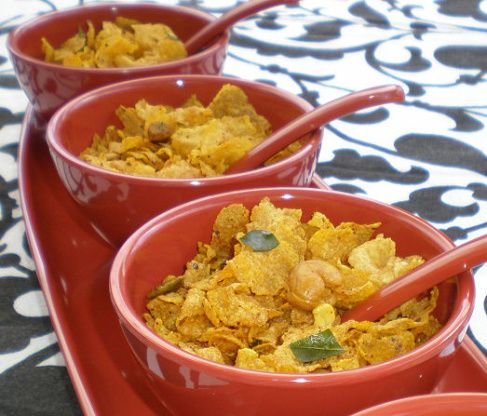Corn Flakes Chivda Spicy Indian Snack Mix Recipe Indian
