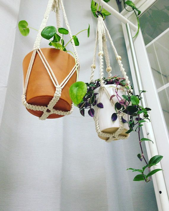 Macrame Plant Hanger Without Tassel On Bottom Small Macrame Plant