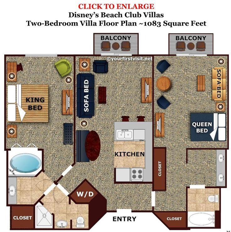 Disney Beach Club 2 Bedroom Suite Floor Plan