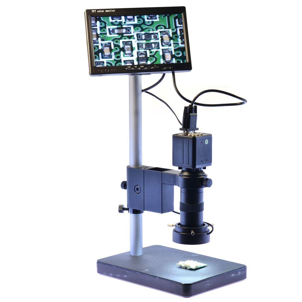 Us 133 56 16 Off 2mp Vga Digital Industrial Microscope Camera Kit 100x Zoom C Mount Lens 7 Adjustable Lighting Lcd Monitor Lcd