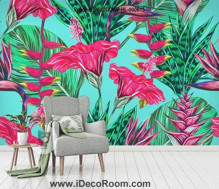 Flowers plant tropical rainforest wallpaper wall murals
