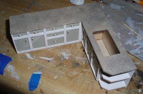 DIY Miniature Kitchen Cabinets   How to make Kitchen Cabinets for Dollhouse - MyKingList.com #miniaturekitchen