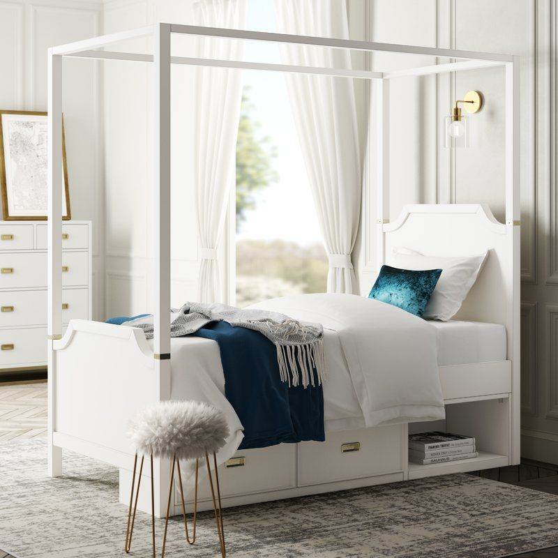 Jereme Canopy Panel Bed With Storage Drawer Unit Soft White Bed Bed Storage Drawers Kid Beds