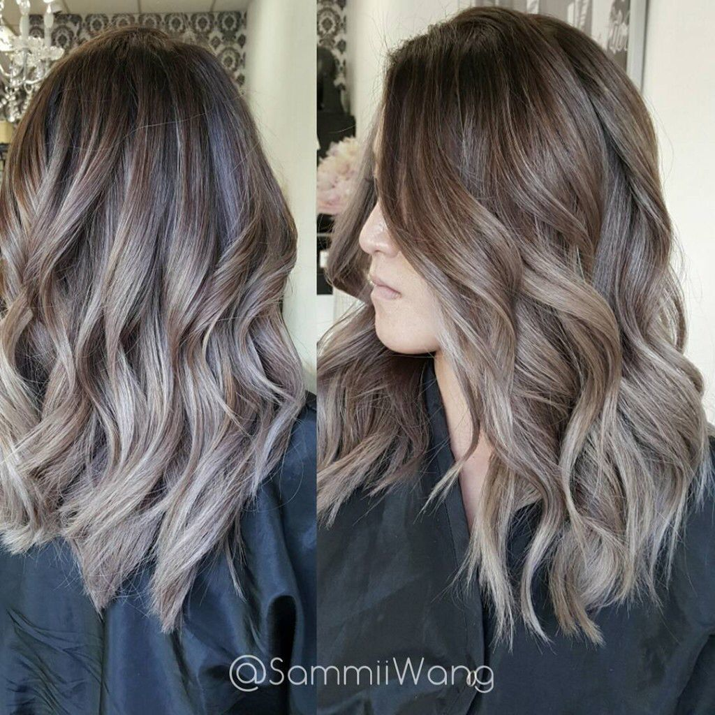 Light Ash Brown Highlighted Silver Ombre Hair Balayage Hair Ash Brown Hair Color
