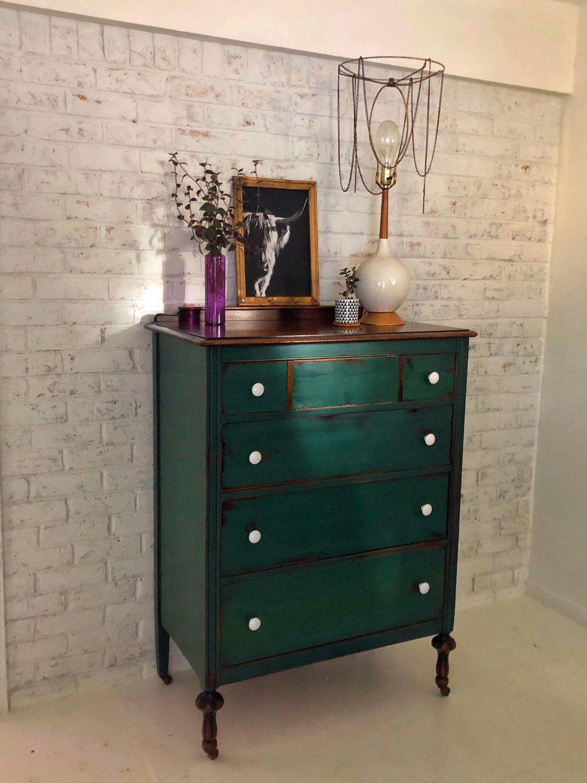 New Emerald Green Vintage Bow Front Dresser Beautiful Jewel Emerald Green Room Ideas Jewel To Green Painted Furniture Green Furniture Bow Front Dressers [ 3135 x 3017 Pixel ]
