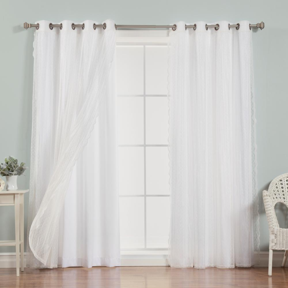 Best Home Fashion 96 In L Umixm Dotted Sheer Nordic Curtain Panels In White 4 Pack Mm Sheerdot Nordic 96 White Panel Curtains House Styles Custom Drapes