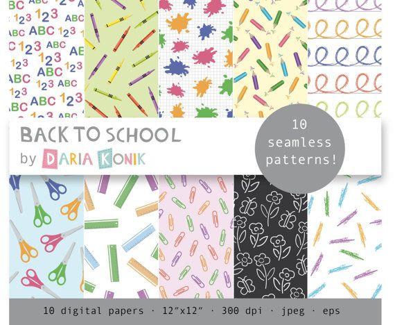 Back To School Digital Paper Pack By Dariakonik 3 00 Digital