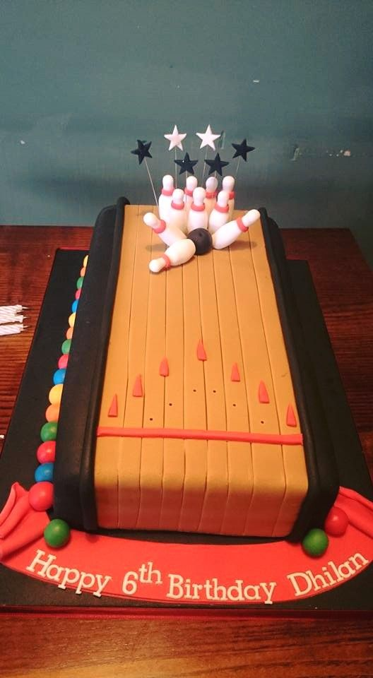 Enjoyable Bowling Birthday Cake Bowling Party Fun With Images Bowling Personalised Birthday Cards Veneteletsinfo