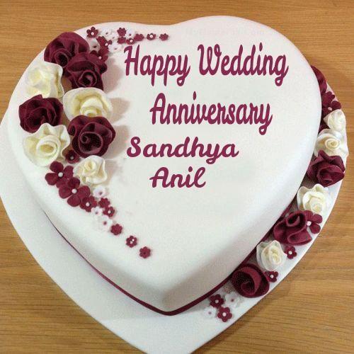 Write Couple Name On Wedding Anniversary Heart Cake Happy