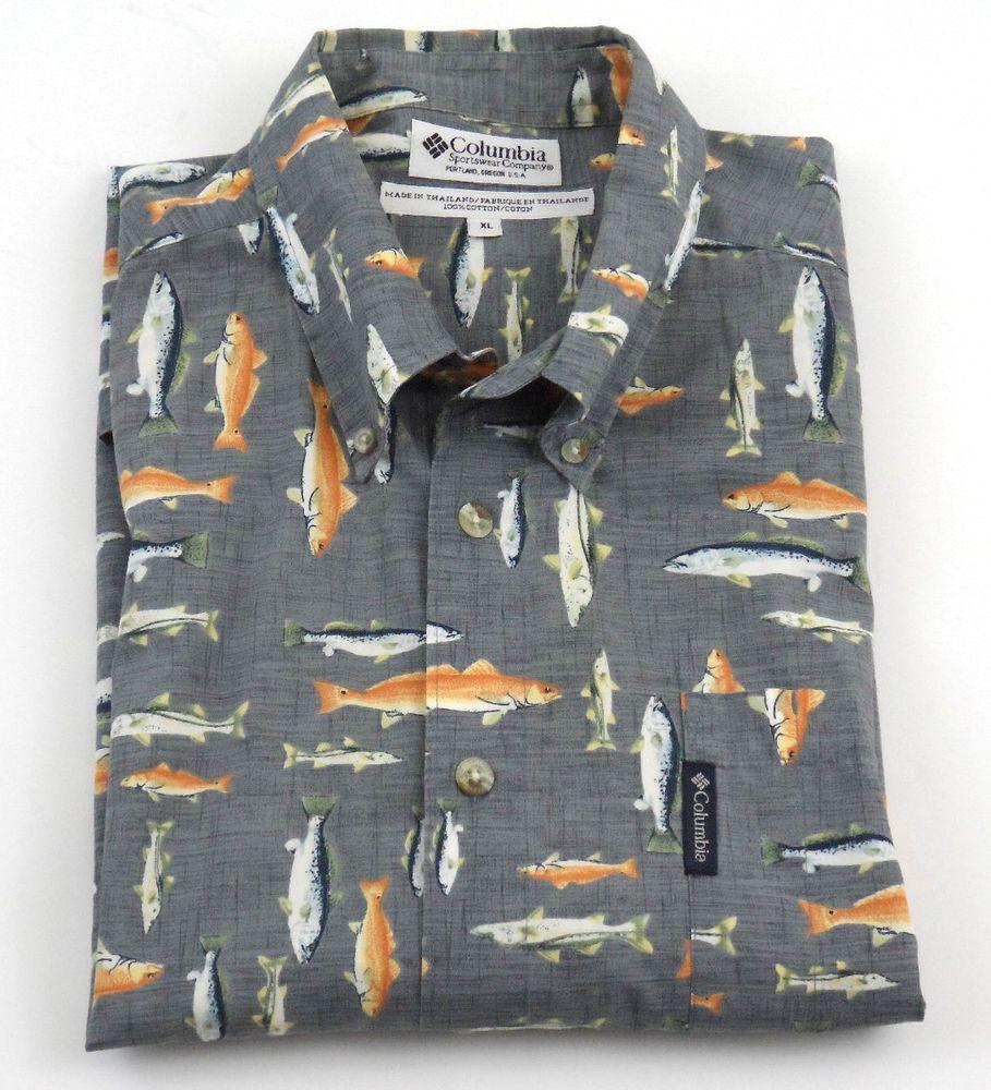 Columbia trout salmon fishing shirt mens size xl button up for Columbia cotton fishing shirt