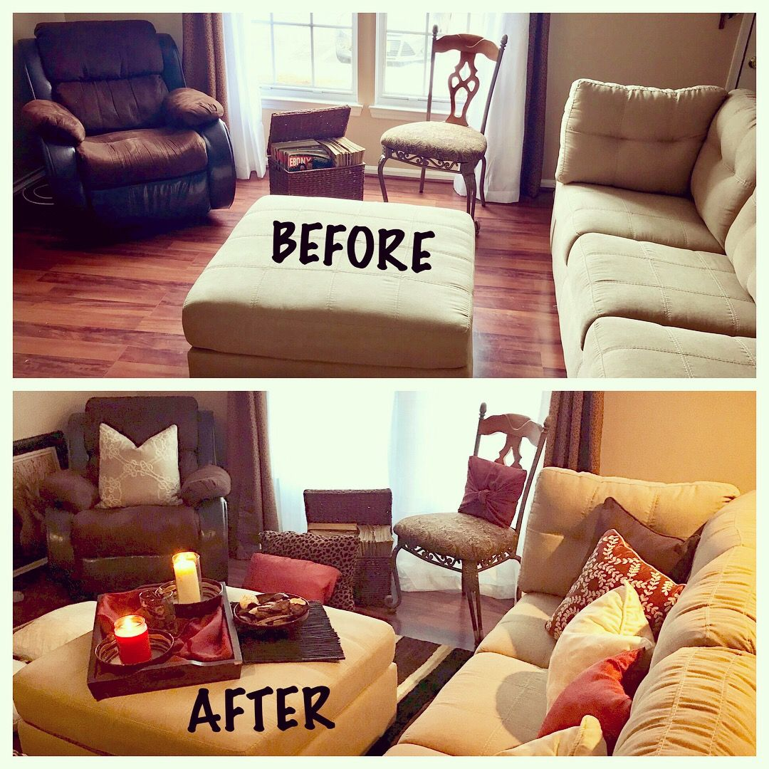 Decorated My Townhouse Living Room With Tan, Brown, Orange