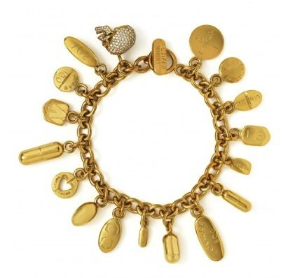 Damien Hirst 18 Carat Gold Charm Bracelet With Diamond Skull And Pills