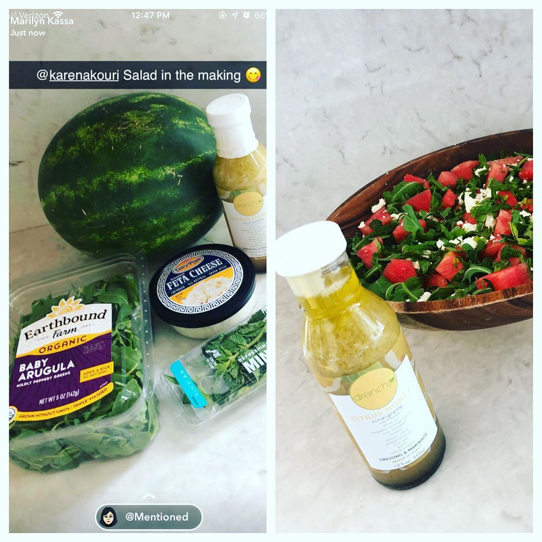Thanks @marilynkassa for this new watermelon arugula salad recipe with mint, feta & drench citrus honey vinaigrette! • • • • • • • • • •