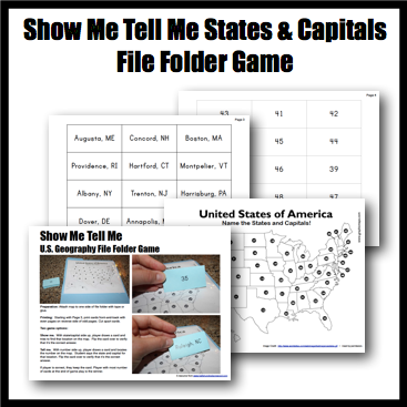Free Printable US Geography File Folder Games Homeschool - Show me the united states of america