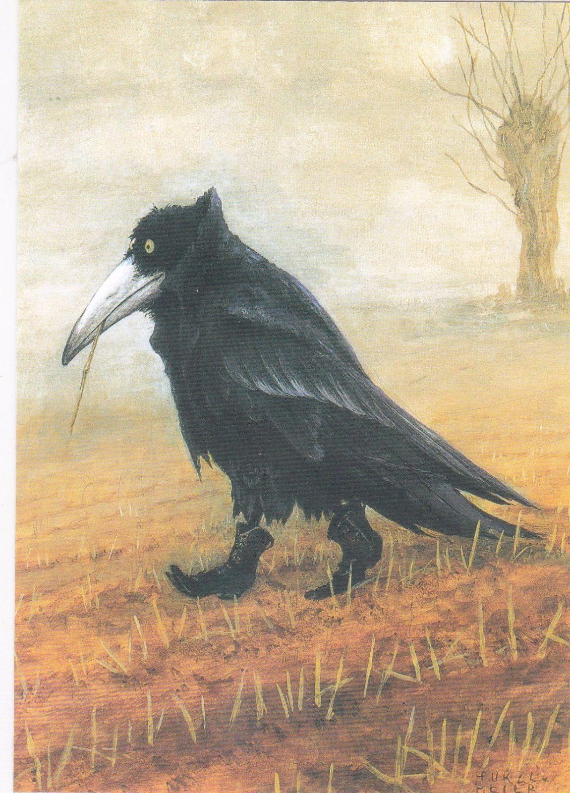 Rudi Hurzlmeier Postkarte Krähe
