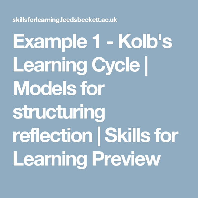 Example 1 Kolb S Learning Cycle Models For Structuring