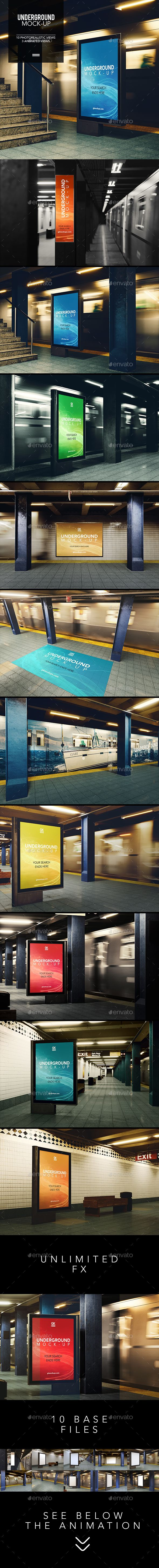 Print Mockup - 3D Underground / Subway Mock-up / Animated Edition - Print Mockup by Gk1.  #TuesdayMotivation #TuesdayWisdom #Logo #PresentationTemplate#TuesdayFeeling  #CyberMonday #Graphic #DesignTemplate #BlackFriday #WebElements #UserInterface #UIUX #TuesdayThoughts #Vectors #HappyTuesday