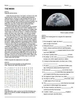 The Moon- Article, Questions, Wordsearch, and Hidden